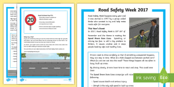 Road Safety Week Differentiated Fact File - Road Safety Week, safety, Ks1, Reception, EYFS, road, crossing, green cross code, PSHE