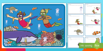 Under the Sea Scene and Question Cards - Ocean, Pre-K Question Skills, Kindergarten Question Skills, Comprehension, Pre-K comprehension, Kind