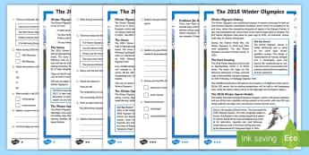 KS2 Winter Olympics 2018 Differentiated Reading Comprehension Activity - winter sports, international, south korea, reading, PE