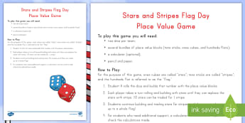 Stars and Stripes Flag Day Place Value Game - Flag Day, place value, ones, tens, hundreds, stars, stripes, addition, regrouping