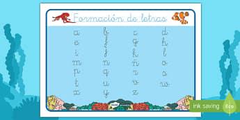 Bajo el mar tapiz de formación de letras-Spanish