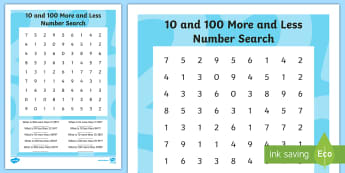 10 and 100 More and Less Number Search  - 100 more, 100 less, 10 more, 10 less, place value,