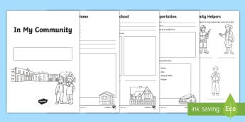 In My Community Activity Booklet Resource Pack - Grade 1 Social Studies, social studies, community, places, surrounding, environment, school, home, t