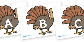 A-Z Alphabet on Turkeys - A-Z, A4, display, Alphabet frieze, Display letters, Letter posters, A-Z letters, Alphabet flashcards