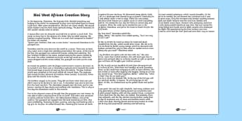 Kingdom of Benin: Bini Creation Story Print Out