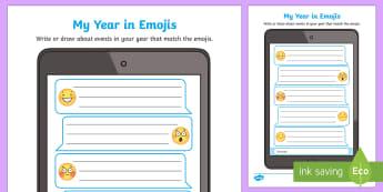 My Year in Emojis Worksheet / Activity Sheet-Australia, moji