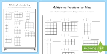 Multiplying Fractions by Tiling with Grids Provided Worksheet / Activity Sheet - Multiplication, fractions, tiling, grids, 5th grade, worksheet