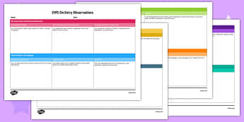 EYFS On Entry Observation Record - baseline assessment, eyfs, on entry, observation, record