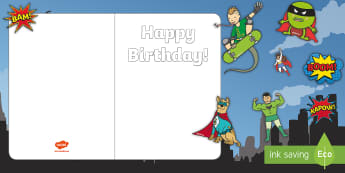 Design Your Own Superhero Themed Birthday Cards - cut and stick, fine motor skills, scissor skills