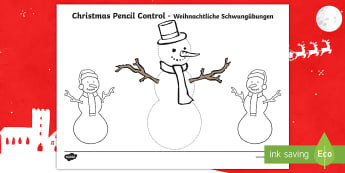 Christmas Pencil Control Activity - English/German - EAL, German, Christmas Pencil Control Worksheets (Snowman) - Christmas, xmas, pencil control, Handwr