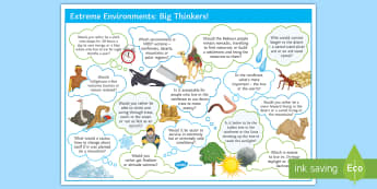 Extreme Environments Big Thinkers! Display Poster - mountains, polar, rain forest, desert, animals, plants, adaptation, thinking, extension, debate