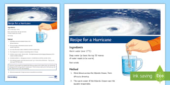 Recipe for a Hurricane Fact Sheet - weather, causes, tropical storm, air pressure, equator