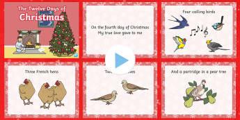 PowerPoint : 12 Days of Christmas - Anglais LV -  chanson, chant, paroles, présentation, Noël, Langues vivantes