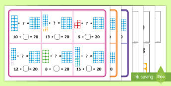 Number Shapes Number Bonds to 20 Bingo - numicon, number bonds, bonds to 20, 0-20, games, bingo game, numbershapes