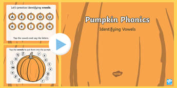 Pumpkin Phonics Vowels Interactive PowerPoint