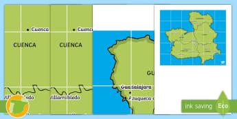 Tapiz de Bee Bot: Las provincias de Castilla La Mancha Tapiz de Bee-Bot - Mapas, provinicias, mapas mudos, mapas en blanco, las ciudades de españa, comarcas, concejos, comun