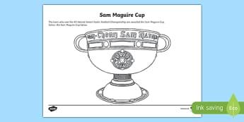 All Ireland Football Champions Sam Maguire Cup Colouring Activity Sheet - cluiche ceannais na heireann, GAA, Dublin, Mayo, Winners