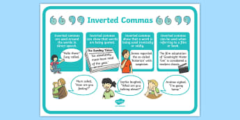 Inverted Commas Punctuation Poster - speech marks, punctuation