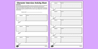 Character Interview Activity Sheet-Irish, worksheet