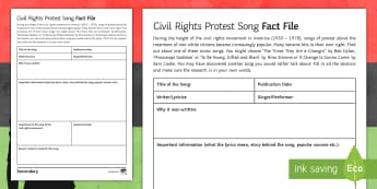 Civil Rights Protest Song Activity Sheet - Civil rights, protest songs, civil rights movement, Martin Luther King, black history month, bob dyl