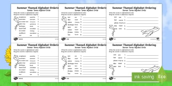 Summer Differentiated Alphabet Ordering Worksheet / Activity Sheet English/Afrikaans - seasons, weather, holiday, literacy, temperatures, seisoene, EAL