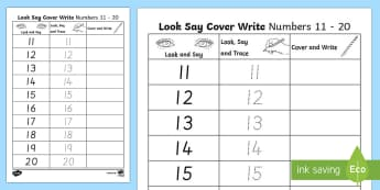 Number Formation 11 to 20 Look, Trace and Write Activity Sheet, overwriting