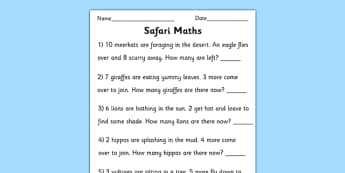 Safari Themed Maths Word Problems Worksheet to 10 - safari, safari maths problems, safari numeracy,safari maths worksheet, safari addition, safari subtraction