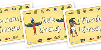 Class Group Signs (Ancient Egyptian Gods) - Ancient Egyptian, history, group signs, group labels, teaching groups, class group, class groups, Egyptians, Egypt, pyramids, Pharaoh, hierogliphics, hieroglyphs, Tutankhamun, Giza, Dahshur, Mummy