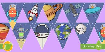 Banderitas de exposición: El universo - espacio, espacial, actuar, actuación juego, jugar, roles, rol, escenario, decorado, decorados, astr