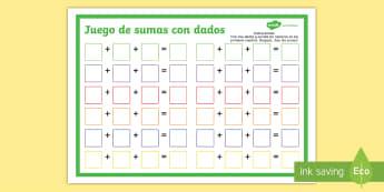 Juego: Sumas con tres dados - dados, juego, sumar, sumas, suma, adición, añadir, ,Spanish