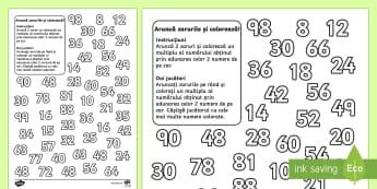 Aruncă zarul și colorează - Fișă de activitate - înmulțiri, tabla înmulțirii, matematică, română, produs, înmulțire, exerciții, fișe, exer