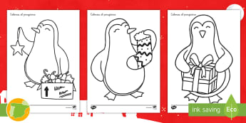 * NEW * Colorea el pinguino de Navidad Fichas de actividad - Navidad, natividad, santa Claus, papá Noel, festividad, fiesta, ideas, manualidad, manualidades, ar