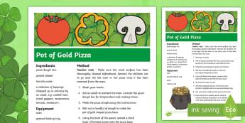 KS2 St Patrick's Day Pot of Gold Pizza Recipe - KS1& 2 St Patrick's Day UK March 17th 2017, St Patrick's Day, recipe, pizza, leprechaun, instructi
