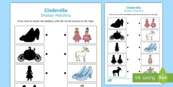 Cinderella Shadow Matching Worksheet / Activity Sheet - australia, cinderella, worksheet