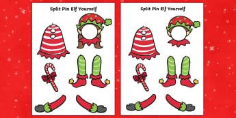 Split Pin Elf Yourself Cut-Outs - EYFS, KS1, Character, Christmas Themed, Festive, Photo, Editable, display
