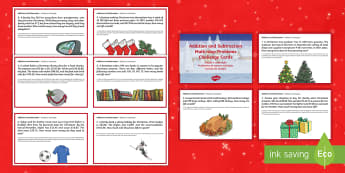 Addition and Subtraction Multi Step Word Problems Christmas Maths Challenge Cards English/Portuguese - Christmas Maths KS2, Year 5, Y5, Year 6, Y6, multi-step word problems, addition, subtraction, eal