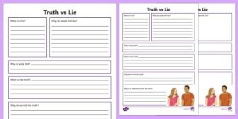 Truth vs Lie Writing Worksheet / Activity Sheet - Telling the truth, friendships, honesty, lying, ASD, autism, ks3, secondary, sen