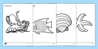 Animale marine - Fișe pentru colorat