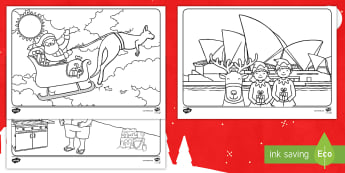 Christmas Places Colouring Pages-Australia - Father Christmas, beach, Sydney Opera House, Festive, Reindeer, Christmas Tree, Decoration, Place se