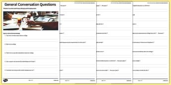 School Life Themed General Conversation Questions Activity Sheet French - Speaking, College, école, Collège, Scolaire, Professeurs, Teachers, Uniform, Uniforme, Rules, Règles, Règlement, Journée