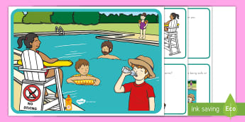 Water Safety Scene and Question Cards - water safety, pool safety, beach safety, lake safety, summer safety, personal safety, scene and ques