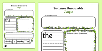 Jungle Sentence Unscramble Worksheets - jungle, sentence, game