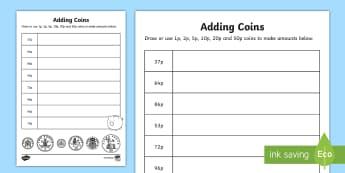 Adding Coins: 1p, 2p, 5p, 10p, 20p, 50p Worksheet / Activity Sheet - NI KS1 Numeracy, money, value, amount, 1p, 2p, 5p, 10p, 20p, 50p, Worksheet, change, making change.