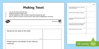 Making Toast Story Sequencing Worksheet / Activity Sheet - making toast, reading, comprehension, sequencing, sentences, worksheet / activity sheet, worksheet,Irish