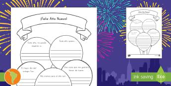 Ficha de actividad: Año Nuevo - Ano nuevo, propósitos para el año nuevo, escritura, nuevo año, español