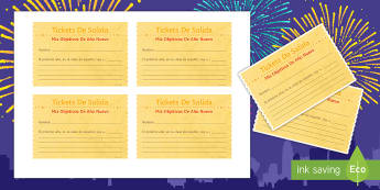 New Year's Goals For Spanish Exit Ticket Plenary - Spanish - New Year, goals, targets, resolutions, plenary, exit tickets