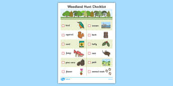 Woodland Hunt Checklist - woodland, hunt, checklist, check, list