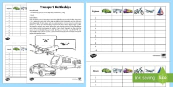 Transport Battleships Game German - Transport, Travel, Game, Battleships, German, Verkehrsmittel, MFL, Languages