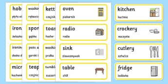 Kitchen Words Cards Polish Translation - polish, houses and homes, house, home, building, kitchen, Word cards, Word Card, flashcard, flashcards, brick, stone, detached, terraced, bathroom, kitchen, door, caravan, where we live, ourselves