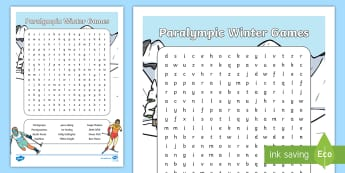KS1 Paralympic Winter Games Word Search - paralympic, paralympians, paralympic winter games, south korea, winter olympics, winter olympics 201